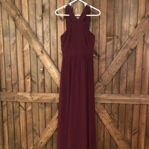 Dresses & Skirts - Wine/burgundy geometric neck lulus dress